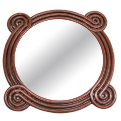 French 1950s Hand-Carved 'Perpetually Curving' Mirror