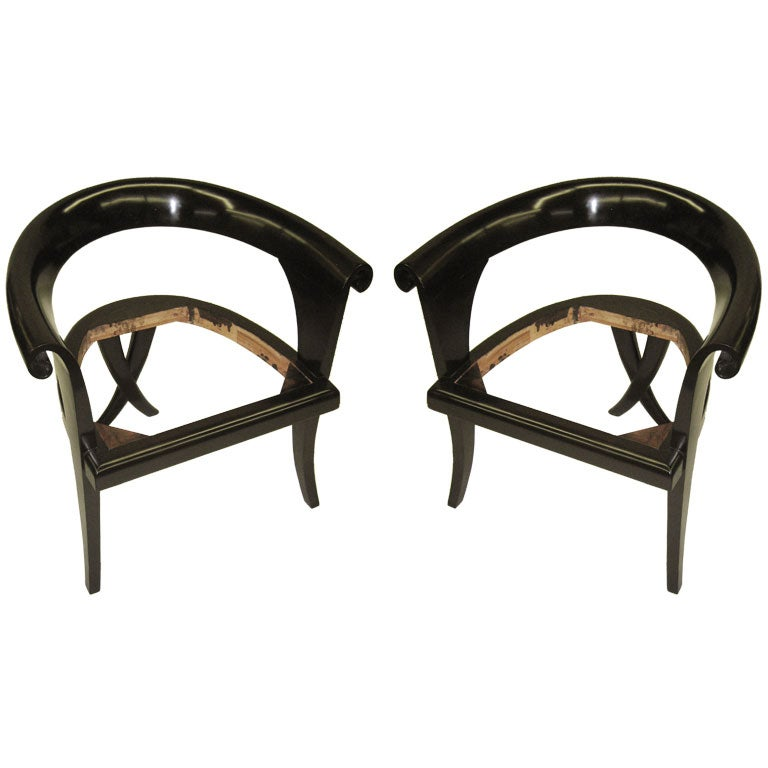 Pair of French Mid-Century Lounge Chairs in the Modern Neoclassical Style
