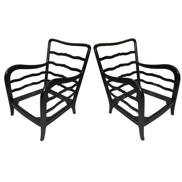 Pair of Italian Mid-Century Modern Lounge Chairs by Paolo Buffa, 1940