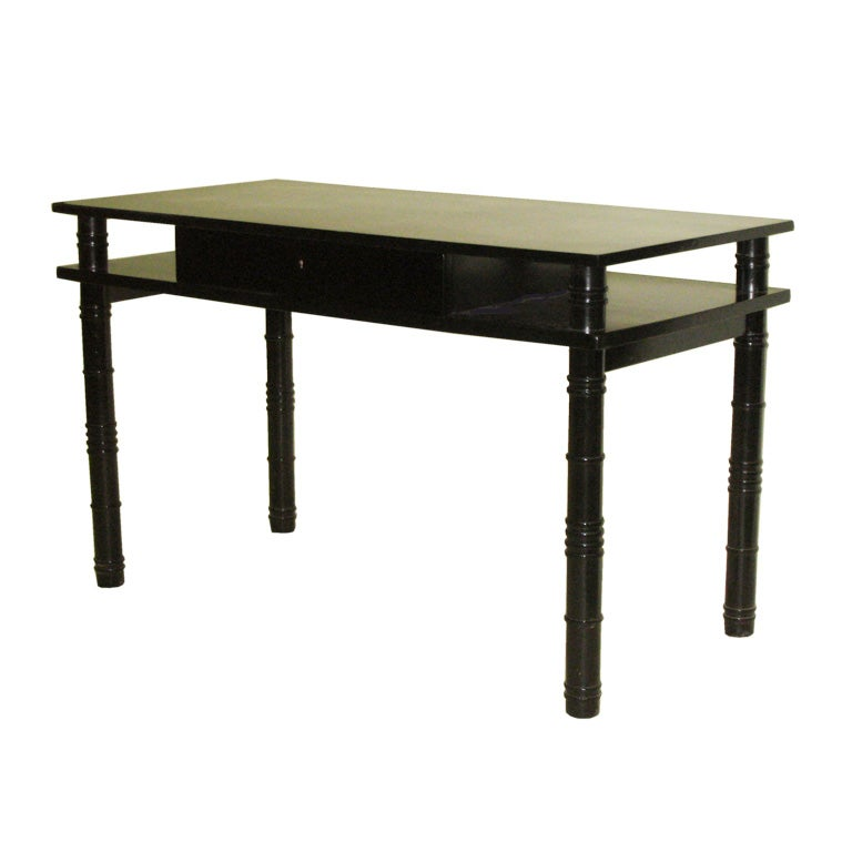 Mid-Century Modern Neoclassical Ebonized Desk by Leon Jallot, France, 1937