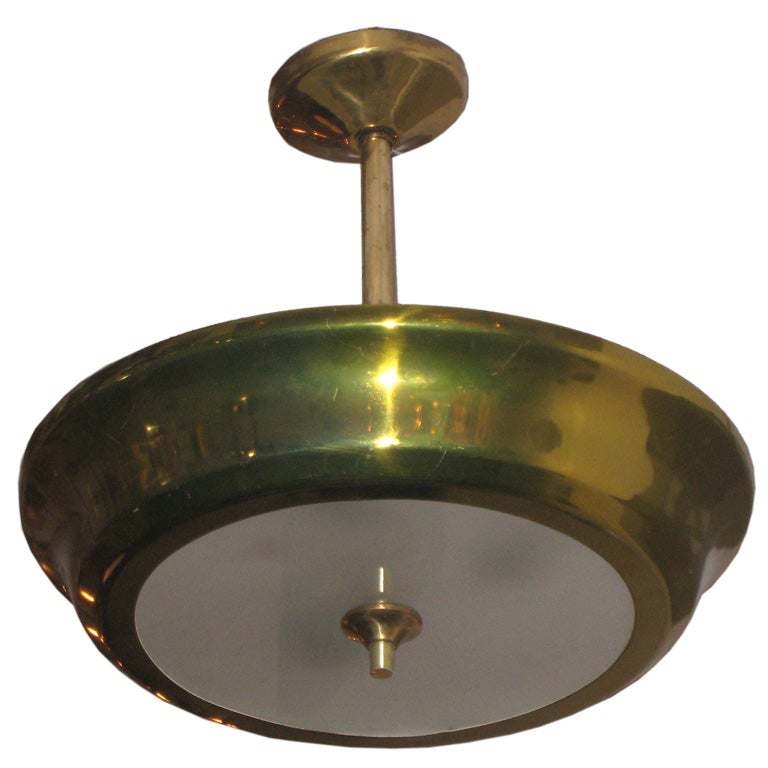 French Mid Century Modern Brass Pendant Fixture At 1stdibs