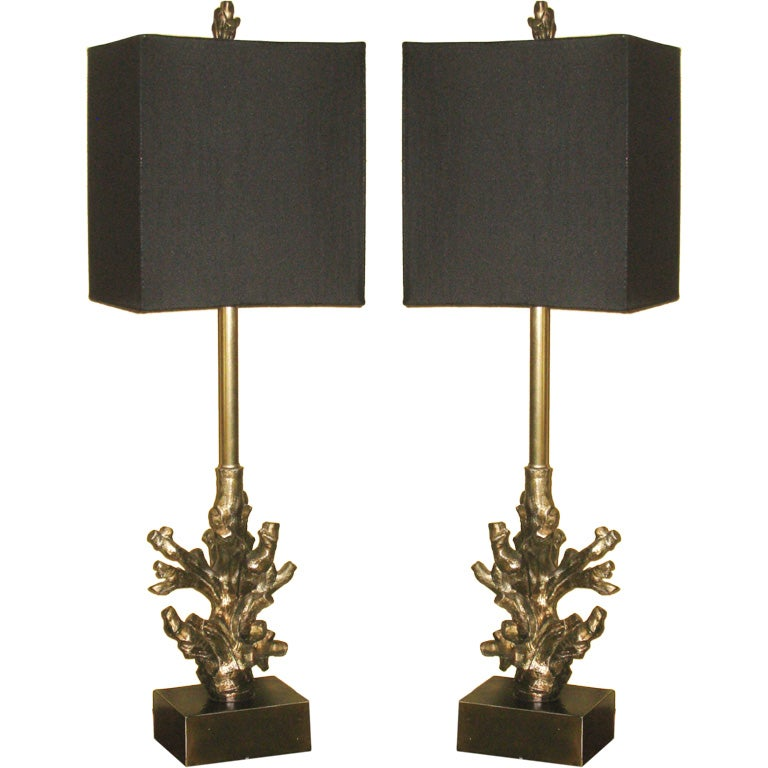 pair of coral style table lamps at 1stdibs. Black Bedroom Furniture Sets. Home Design Ideas