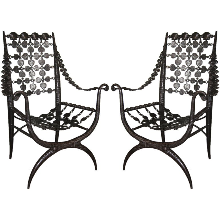 Pair of Modern Neoclassical Bronze Lounge Chairs in Style Armand Albert Rateau