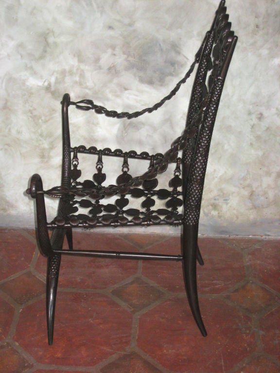 French Pair of Modern Neoclassical Bronze Lounge Chairs in Style Armand Albert Rateau For Sale
