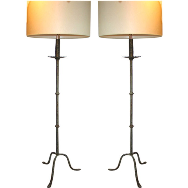 pair of wrought iron floor lamps at 1stdibs. Black Bedroom Furniture Sets. Home Design Ideas