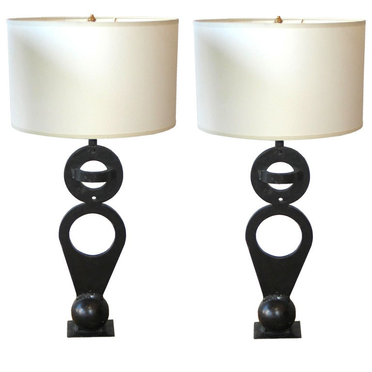 Pair of Modern Sculptural Wrought Iron Table Lamps, France, circa 1960
