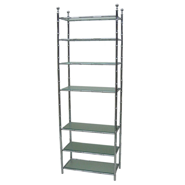 Nickeled french faux bamboo etagere by maison bagues at 1stdibs - Etagere faite maison ...