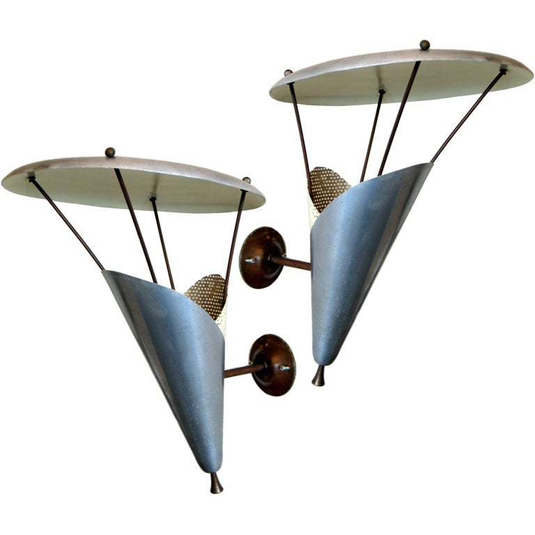 Pair of French Mid-Century Modern Wall Sconces by Jacques Biny, circa 1950