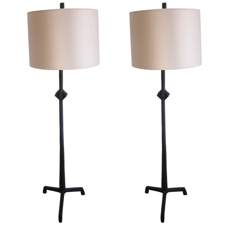 Pair of French Etruscan Style Iron Floor Lamps in the Manner of Giacometti