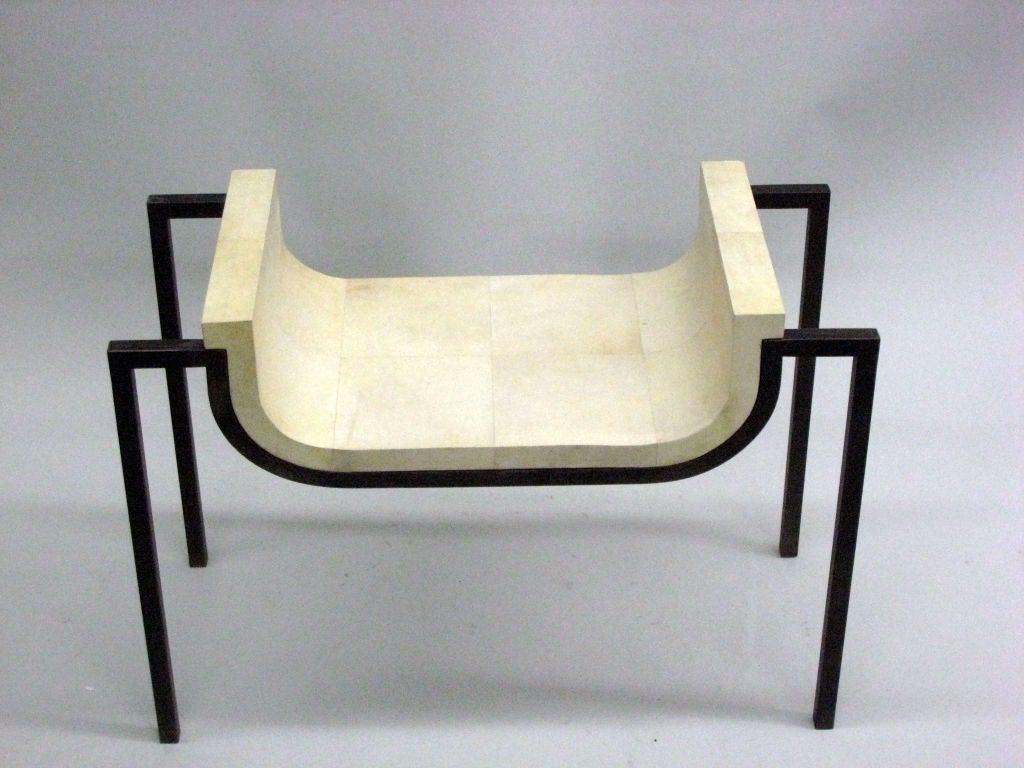 Mid-Century Modern Two Parchment Benches in the Style of Marc Duplantier For Sale
