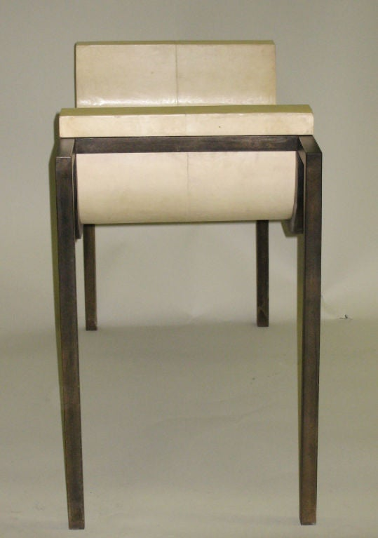 French Two Parchment Benches in the Style of Marc Duplantier For Sale