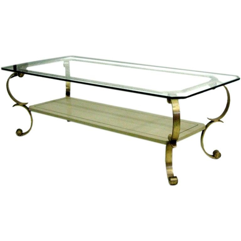 Large French Coffee Table: Large French 1970s Double Level Cocktail Table Attributed