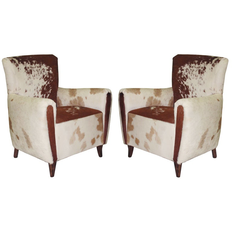 Awesome Pair Of French 1930s Cowhide Club Chairs 1