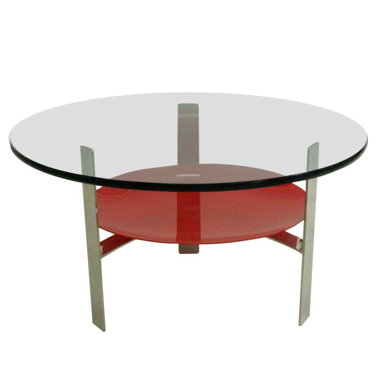 Italian Mid-Century Modern Double Level Cocktail Table in Style of Fontana Arte