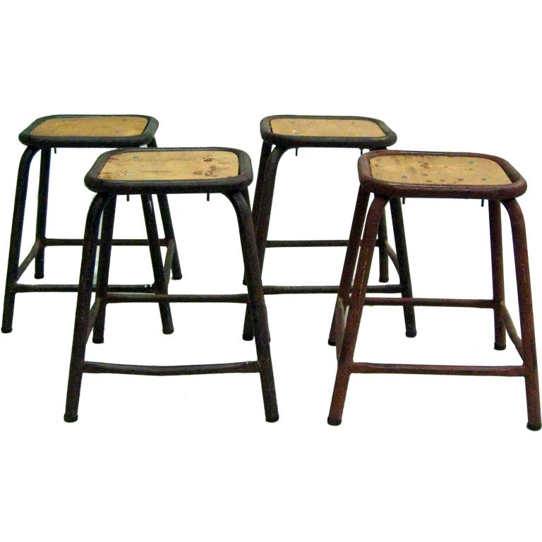 4 French Mid-Century Modern Industrial Iron Stools / Benches, Jean Prouve Style
