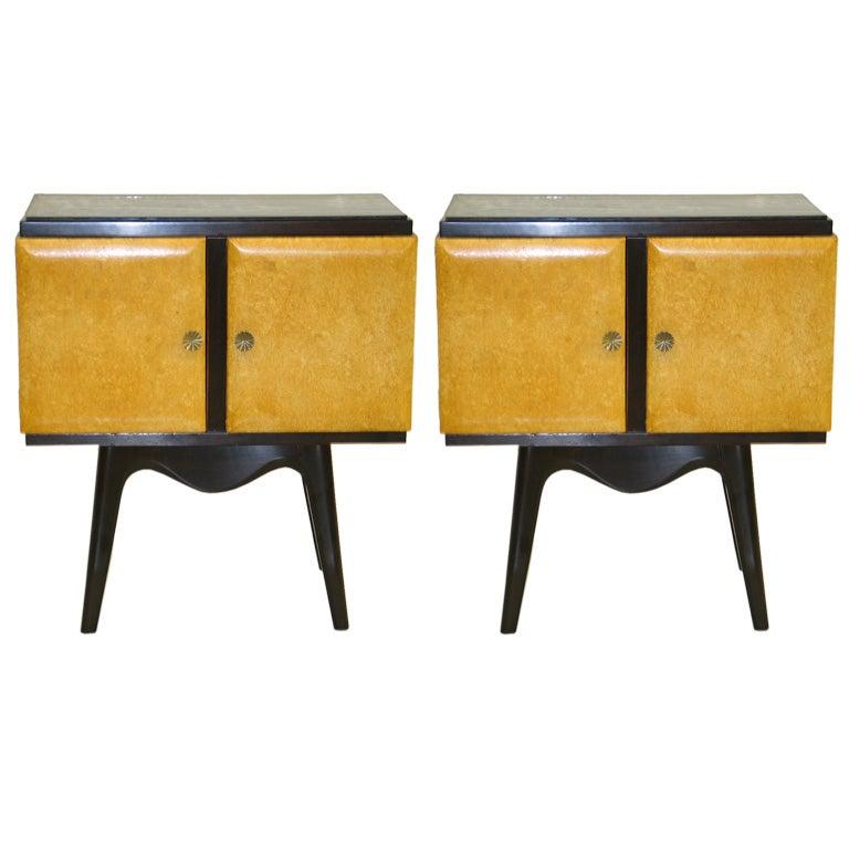 Pair Italian Mid-Century Parchment Nightstands / Side Tables by Osvaldo Borsani