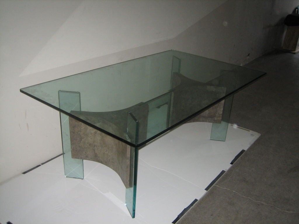 Amazing glass and parchment dining table attrib to fontana for Amazing glass dining table