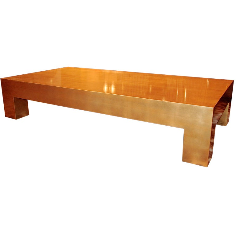 Contemporary Gold Leaf Coffee Table At 1stdibs
