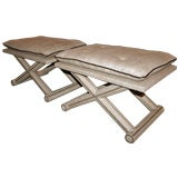 ma+39's Custom Burlap & Leather Benches/Ottomans