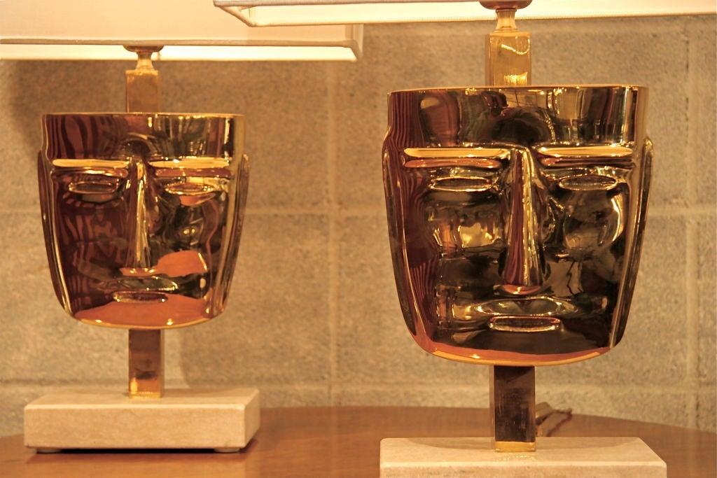 Italian Eccola Mask Lamps For Sale