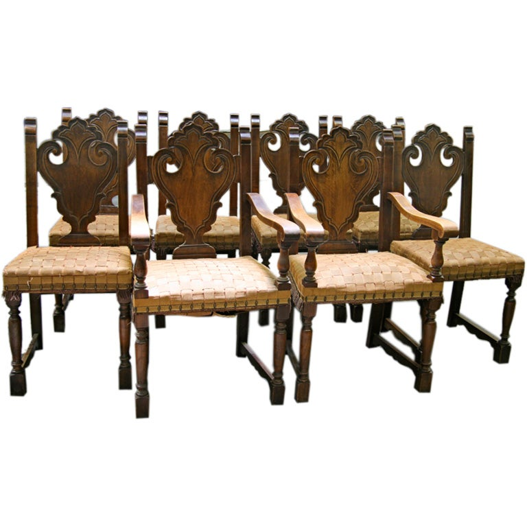 set of 8 spanish dining chairs 2 host 6 side at 1stdibs