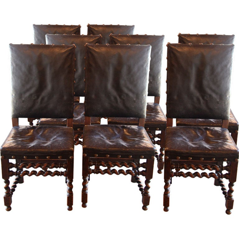 set of 8 spanish leather dining chairs at 1stdibs