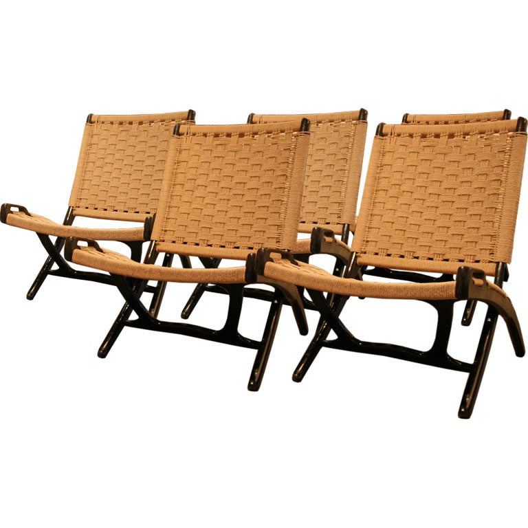 Set Of 5 Danish Folding Lounge Chairs At 1stdibs