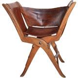 Italian 50s Leather Folding Chair