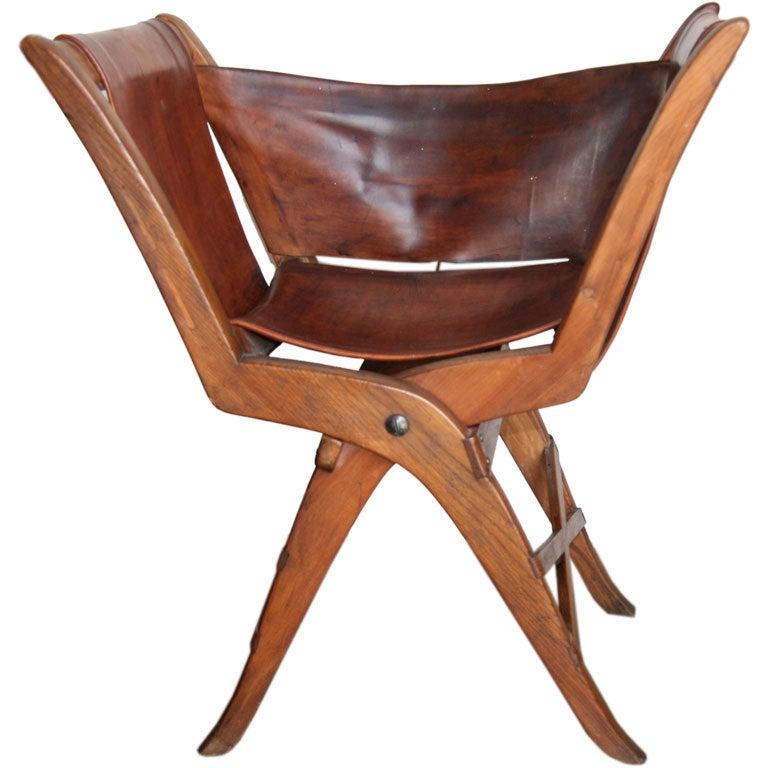 Italian 50s Leather Folding Chair At 1stdibs