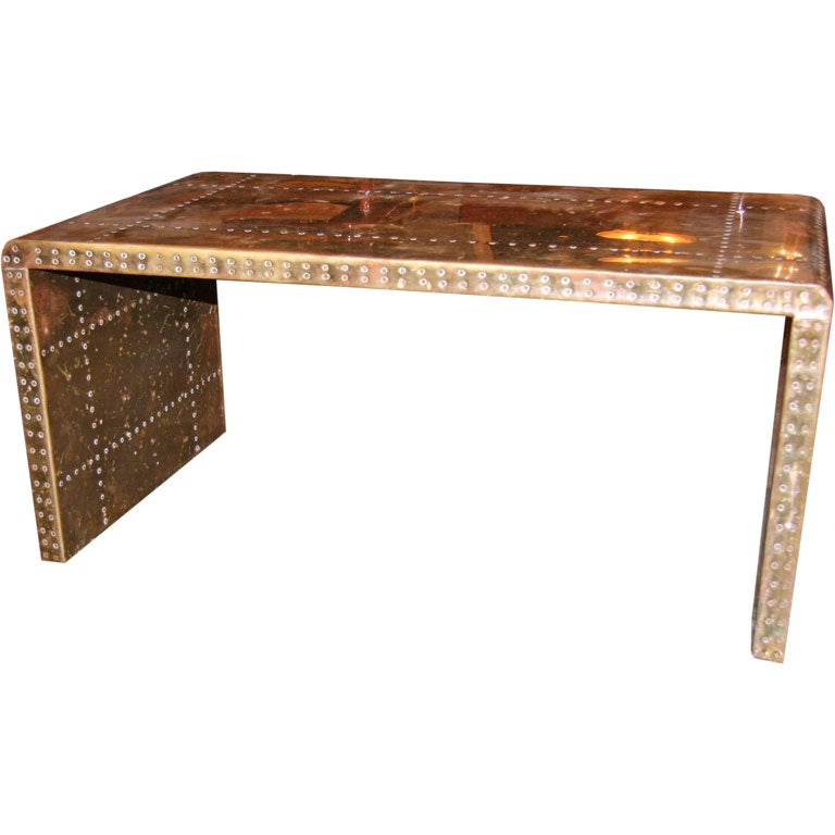 Brass clad and studded table by sarreid ltd at 1stdibs for Coffee table with studs