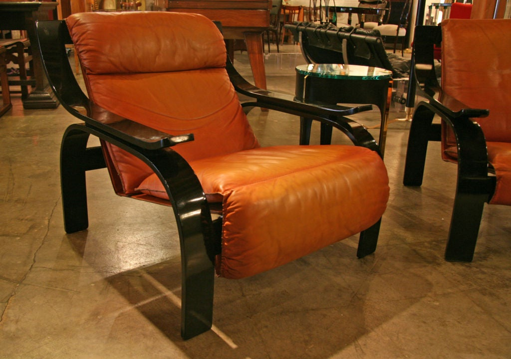 Italian Pair of Marco Zanuso Armchairs in Leather for Arflex For Sale