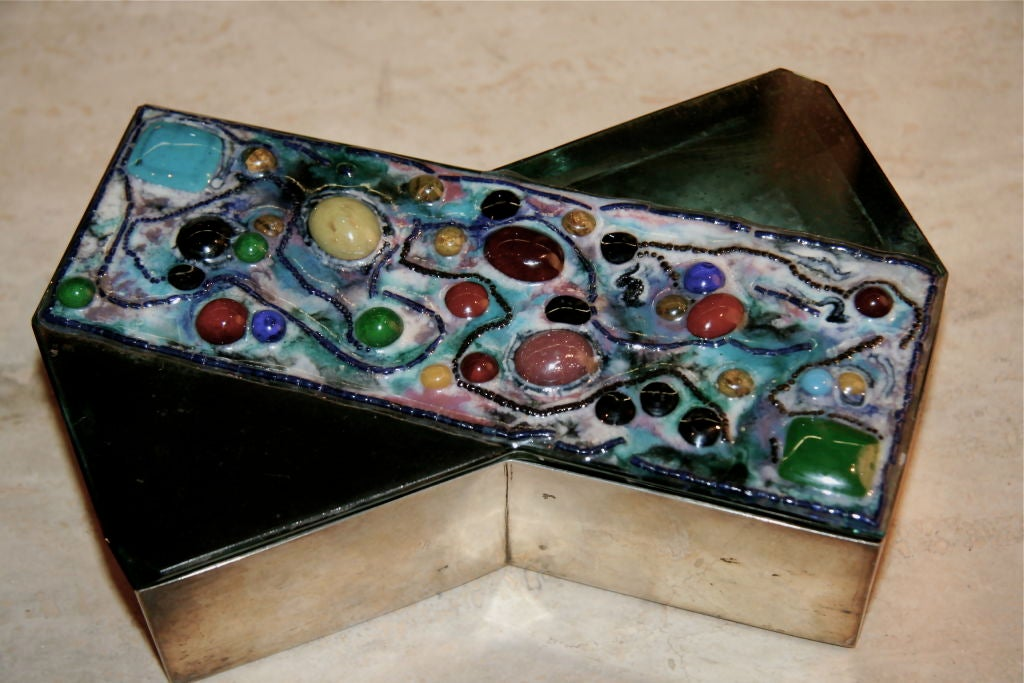 Fontana Arte Silver Box with Mirror and Glass Jewel Top For Sale 3