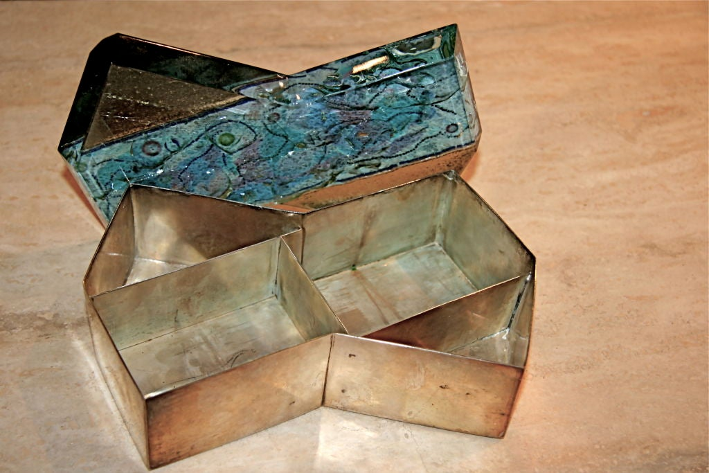 Fontana Arte Silver Box with Mirror and Glass Jewel Top For Sale 1
