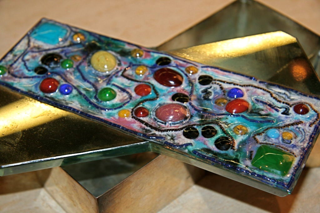 Fontana Arte Silver Box with Mirror and Glass Jewel Top In Good Condition For Sale In Los Angeles, CA