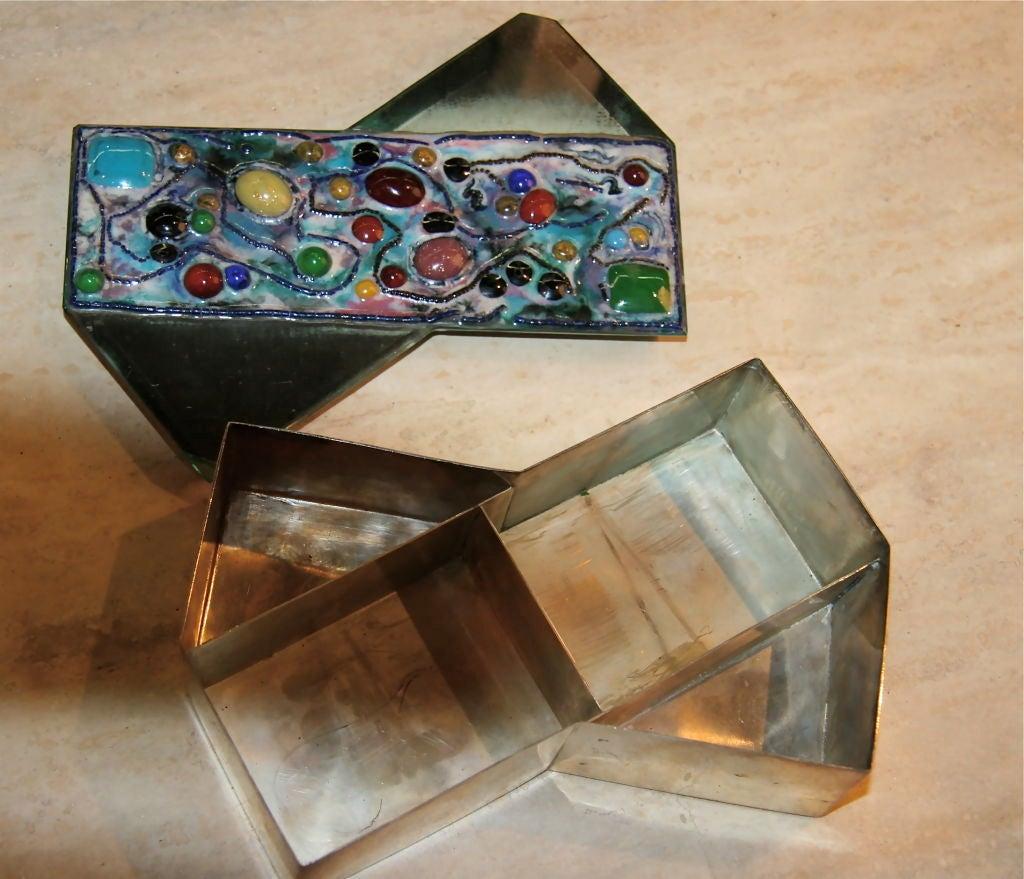 Italian Fontana Arte Silver Box with Mirror and Glass Jewel Top For Sale