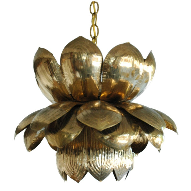 Copper Lotus Flower Pendant At 1stdibs