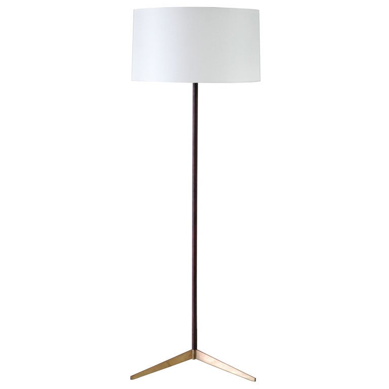 Paul McCobb Wood and Brass Floor Lamp at 1stdibs