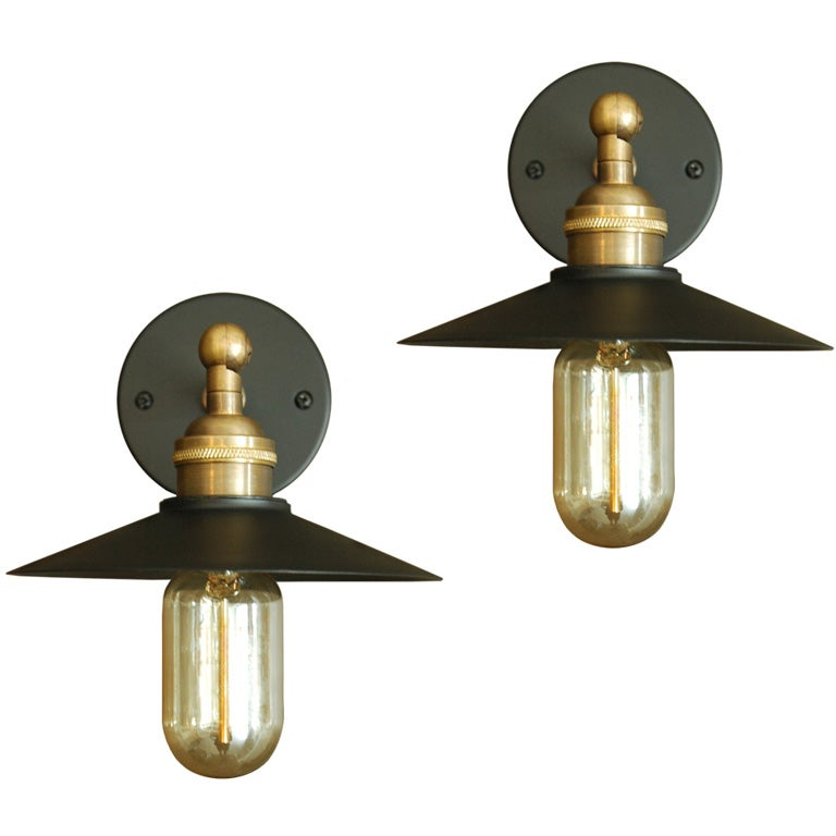 rewire / Rewire Custom Painted Brass Wall Sconces