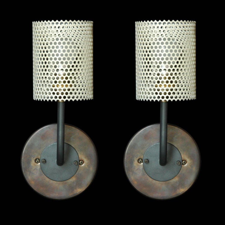 Disderot Perforated Metal Sconces {Cylindrical} at 1stdibs