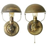 Rare Pair of Industrial Wall/Table Lamps