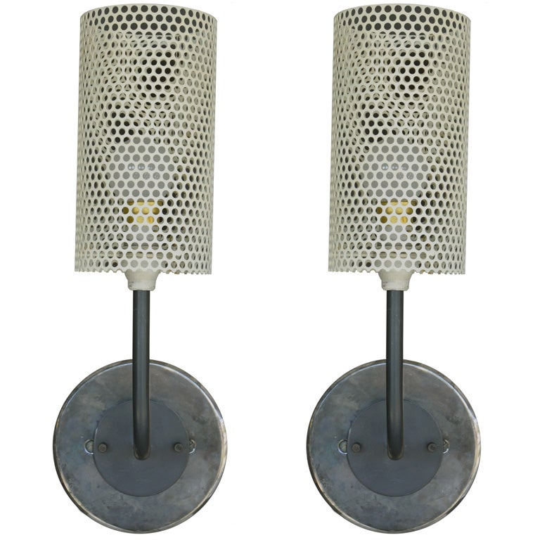 Tall Metal Wall Sconces : Disderot Perforated Metal Sconces {Tall Cylindrical} at 1stdibs
