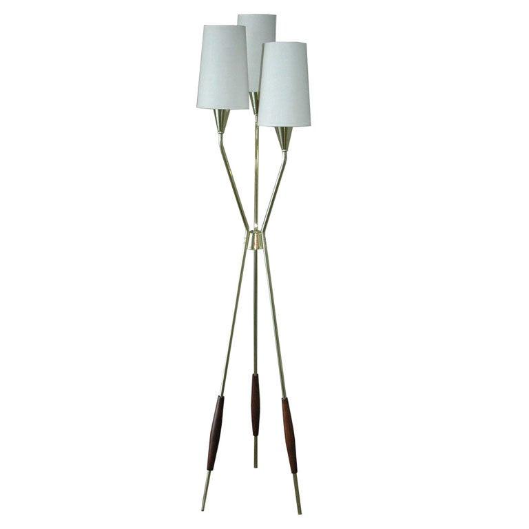 gerald thurston three leg floor lamp for lightolier at 1stdibs. Black Bedroom Furniture Sets. Home Design Ideas