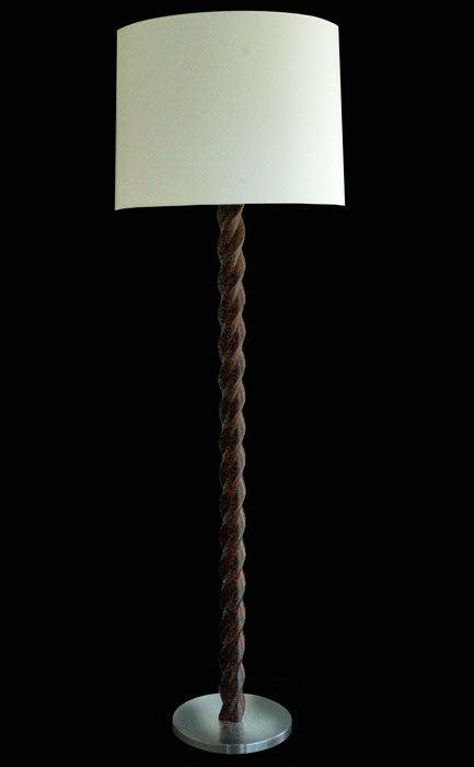 Russell Wright Wood Twist Floor Lamp At 1stdibs
