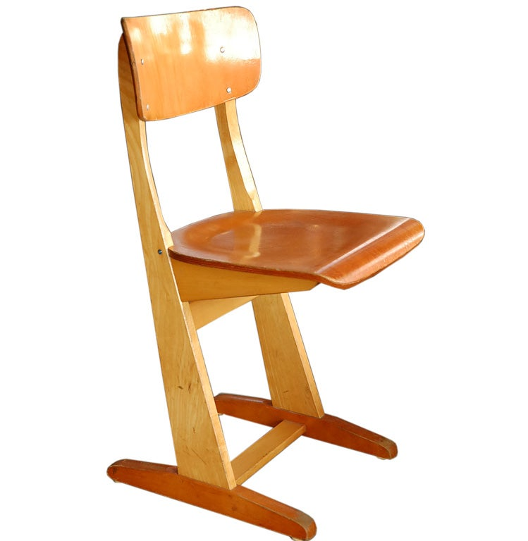 Wooden School Chairs At 1stdibs