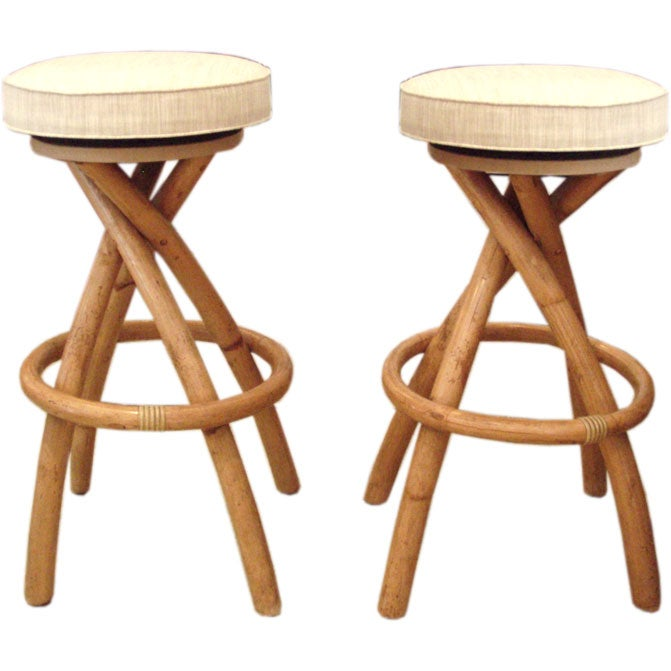 Set Of 4 Bamboo Rattan Bar Stools At 1stdibs