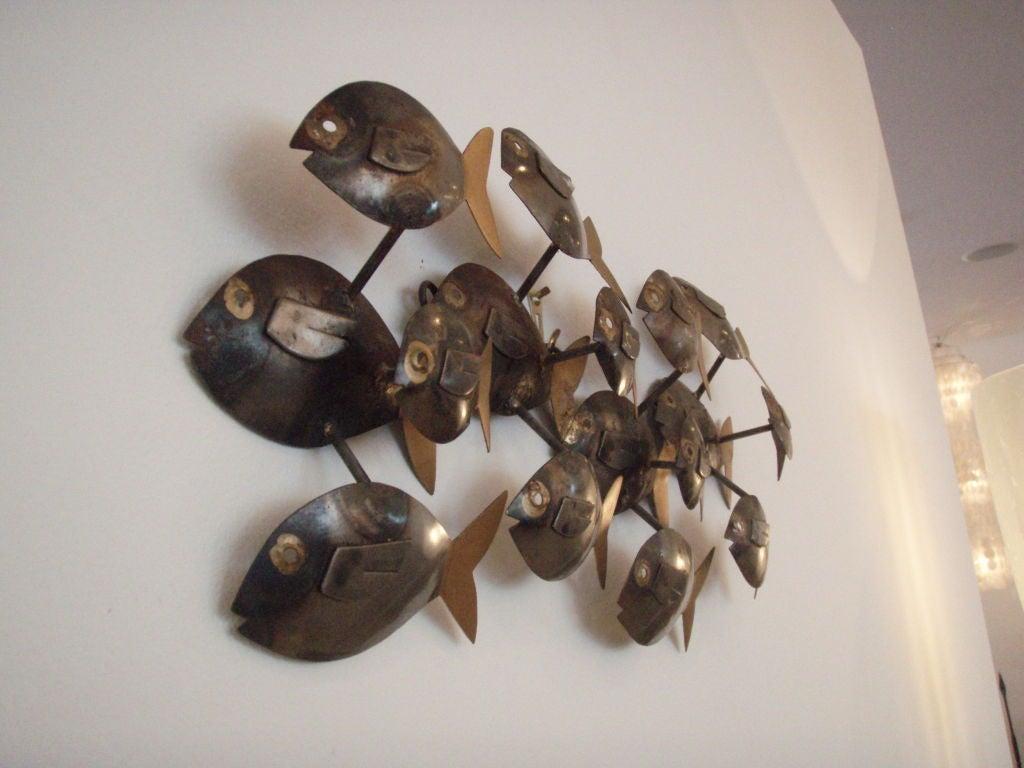Metal school of fish wall sculpture at 1stdibs for School of fish metal wall art
