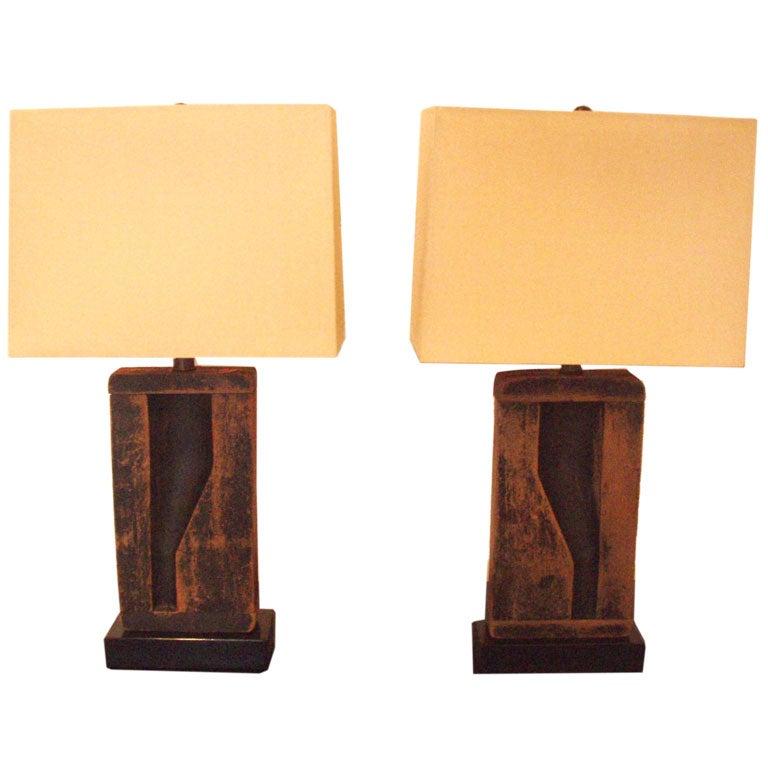 Pair Of Wood Mold Lamps At 1stdibs