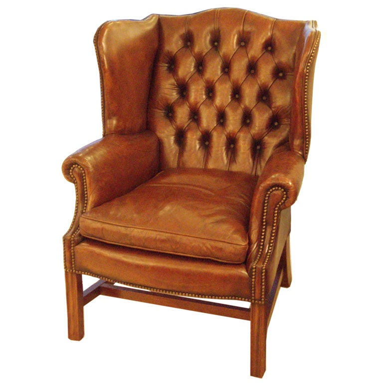 Tufted Leather Wing Back Chair At 1stdibs