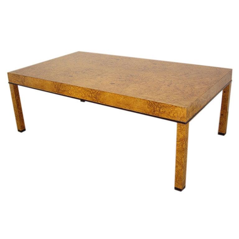 Baker Furniture Company   Olive Ash Burl Wood Coffee Table 1