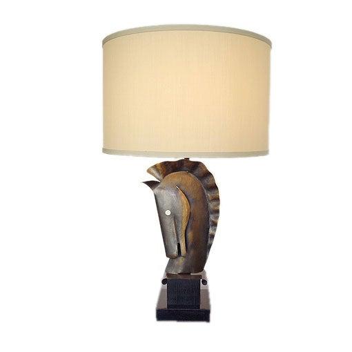 copper and wood lamp signed heifetz at 1stdibs. Black Bedroom Furniture Sets. Home Design Ideas